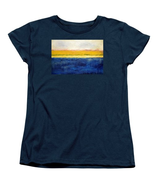 Abstract Dunes With Blue And Gold Women's T-Shirt (Standard Cut) by Michelle Calkins