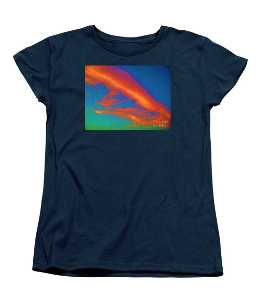 Abstract Red Blue And Green Sky Women's T-Shirt (Standard Cut) by Eric  Schiabor