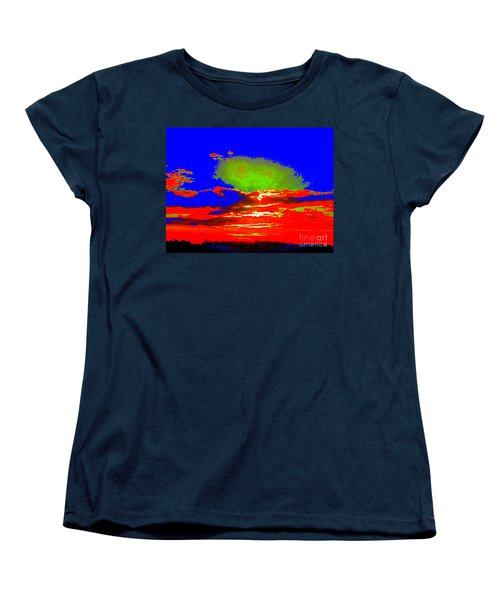 Women's T-Shirt (Standard Cut) featuring the photograph Abstract Sunset Orange Blue Green And So On by Roberto Gagliardi