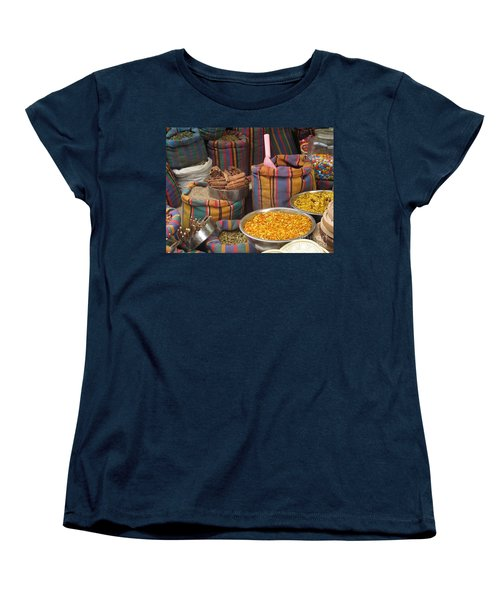 Women's T-Shirt (Standard Cut) featuring the photograph Acco Acre Israel Shuk Market Spices Stripes Bags by Paul Fearn
