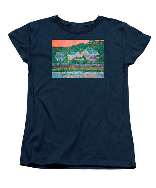 Women's T-Shirt (Standard Cut) featuring the painting Across The Marsh At Pawleys Island       by Kendall Kessler