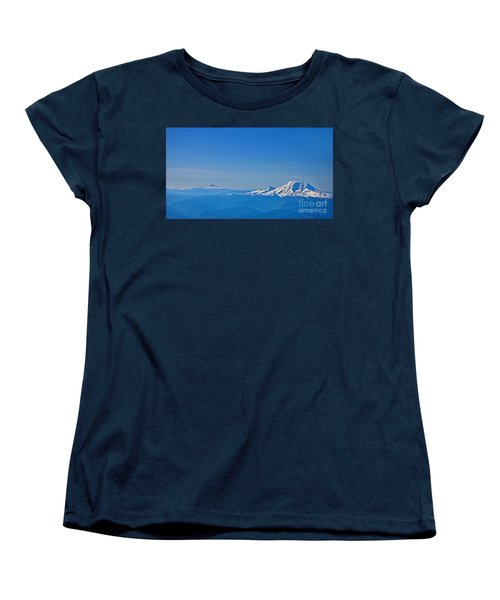 Aerial View Of Mount Rainier Volcano Art Prints Women's T-Shirt (Standard Cut) by Valerie Garner