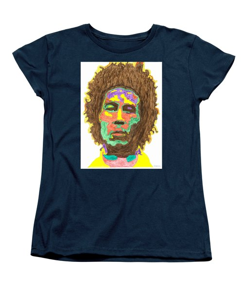 Women's T-Shirt (Standard Cut) featuring the painting Afro Bob Marley by Stormm Bradshaw