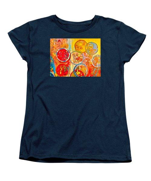 Against The Rain Abstract Orange Women's T-Shirt (Standard Cut)