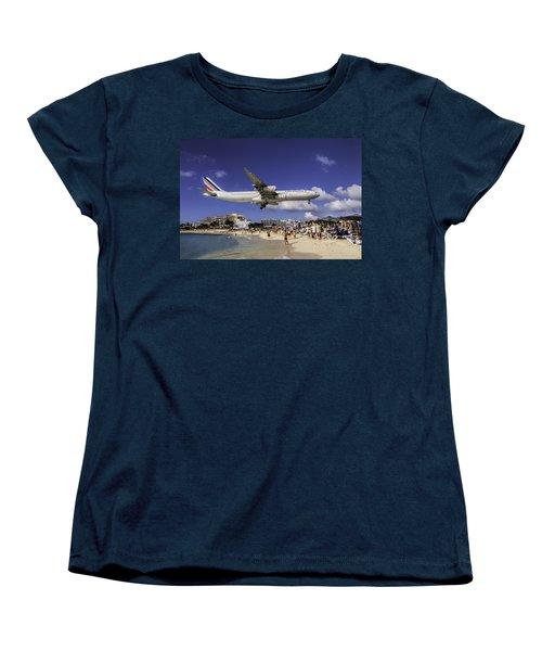 Air France St. Maarten Landing Women's T-Shirt (Standard Cut) by David Gleeson