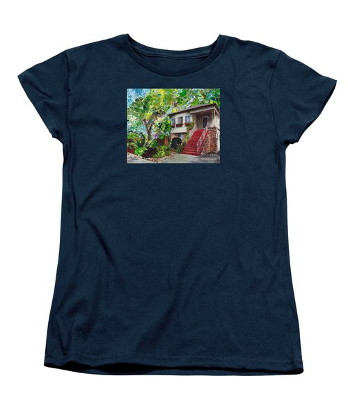 Women's T-Shirt (Standard Cut) featuring the painting Alameda 1908 Duplex by Linda Weinstock
