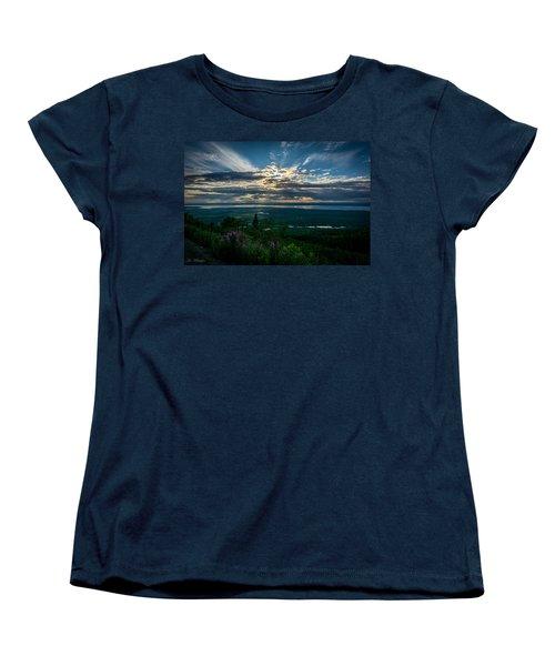 Alaskan Summer Sunset Women's T-Shirt (Standard Cut) by Andrew Matwijec
