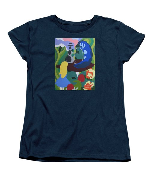 Women's T-Shirt (Standard Cut) featuring the painting Alice And The Blue Caterpillar by Meagan  Visser