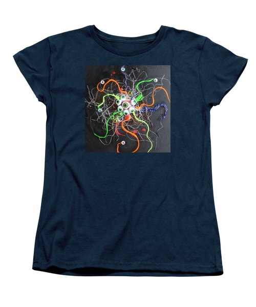 Alien Octopus In Spiderweb Women's T-Shirt (Standard Cut) by Douglas Fromm