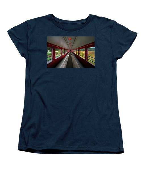 Women's T-Shirt (Standard Cut) featuring the photograph All Aboard Tioga Central Railroad by Suzanne Stout