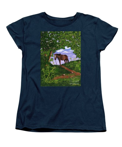 Women's T-Shirt (Standard Cut) featuring the painting All Alone by Laura Forde
