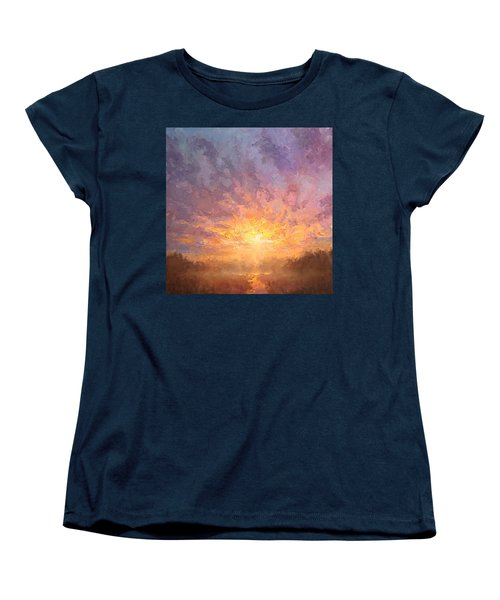 Impressionistic Sunrise Landscape Painting Women's T-Shirt (Standard Cut) by Karen Whitworth