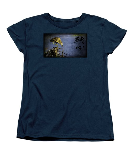 Women's T-Shirt (Standard Cut) featuring the mixed media American Bittern With Brush Calligraphy Lingering Mind by Peter v Quenter