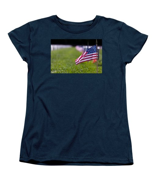 Women's T-Shirt (Standard Cut) featuring the photograph American Flag by Jerry Gammon