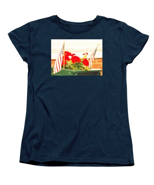 American Flags And Geraniums In A Wheelbarrow One Women's T-Shirt (Standard Cut) by Marian Cates