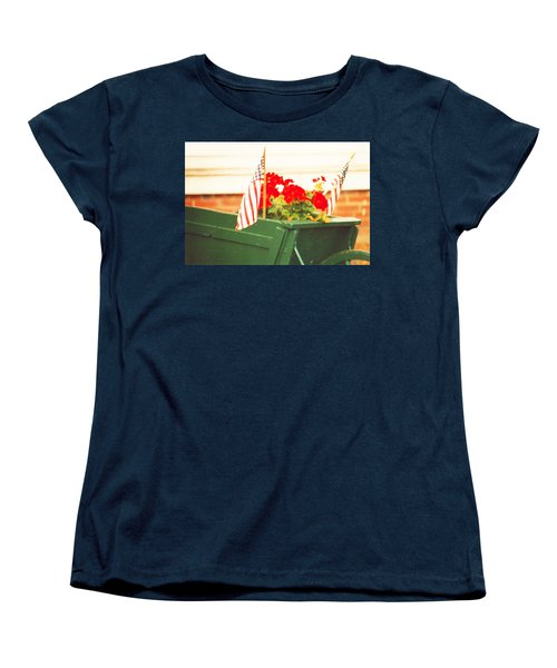 American Flags And Geraniums In A Wheelbarrow Two Women's T-Shirt (Standard Cut) by Marian Cates
