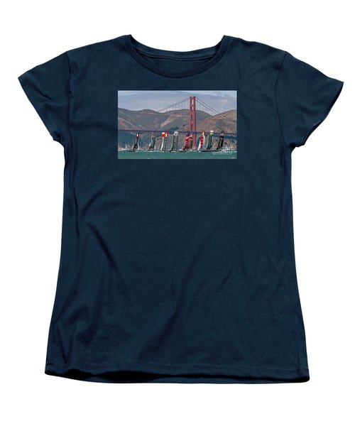 Americas Cup Catamarans At The Golden Gate Women's T-Shirt (Standard Cut) by Kate Brown