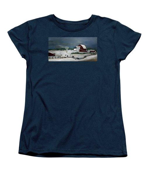 Women's T-Shirt (Standard Cut) featuring the painting Amish Farm - Winter - Michigan by Jan Dappen