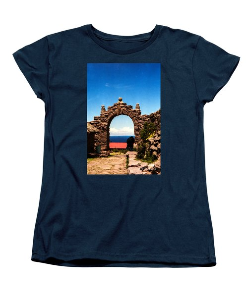 Women's T-Shirt (Standard Cut) featuring the photograph Ancient Portal by Suzanne Luft