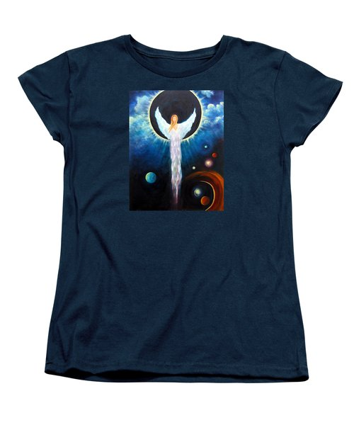 Women's T-Shirt (Standard Cut) featuring the painting Angel Of The Eclipse by Marina Petro