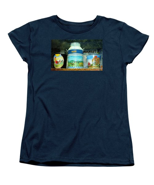 Women's T-Shirt (Standard Cut) featuring the photograph Antique Dairy Milk Can And Pails by Judy Palkimas