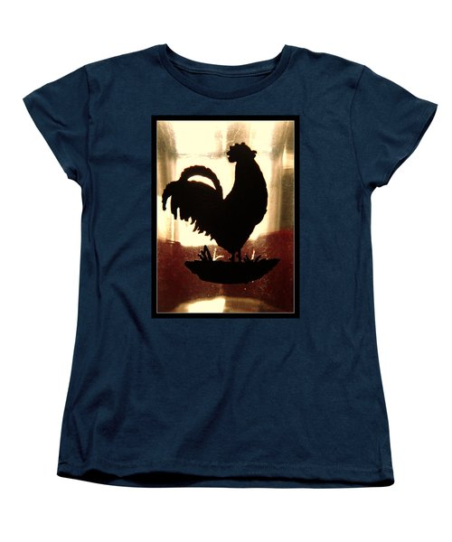Antique Glass Chicken Silhouette Women's T-Shirt (Standard Cut) by Kathy Barney