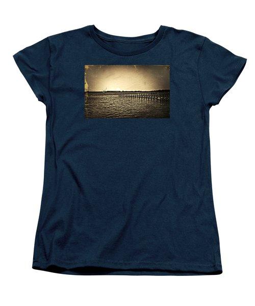 Antique Photo Of Pier  Women's T-Shirt (Standard Cut) by Susan Leggett