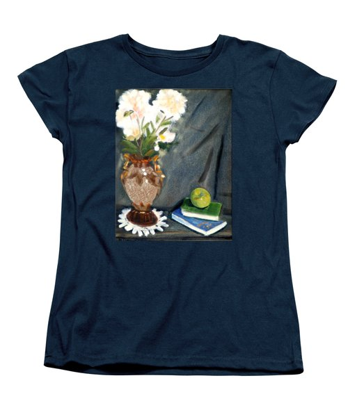 Women's T-Shirt (Standard Cut) featuring the painting Antique Vase And Flower by Michael Daniels