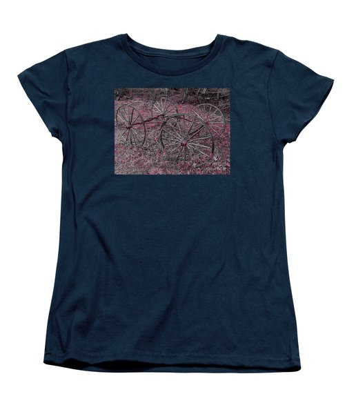 Women's T-Shirt (Standard Cut) featuring the photograph Antique Wagon Wheels by Sherman Perry