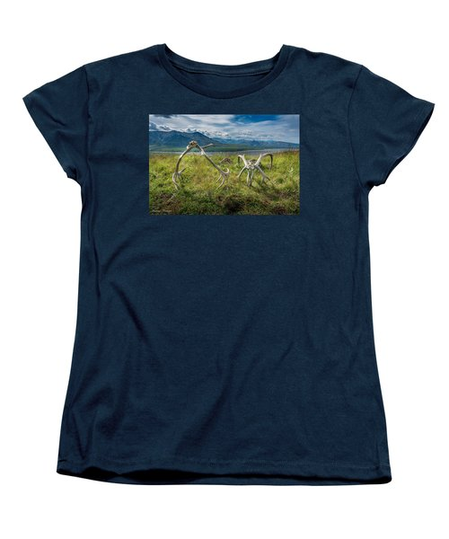 Antlers On The Hill Women's T-Shirt (Standard Cut) by Andrew Matwijec