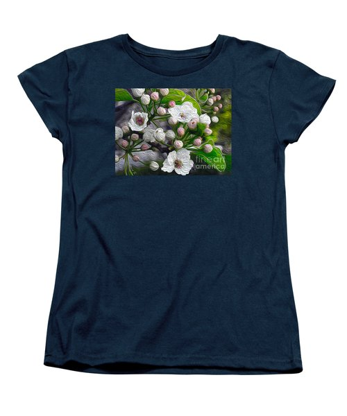 Women's T-Shirt (Standard Cut) featuring the photograph Apple Blossoms In Oil by Nina Silver