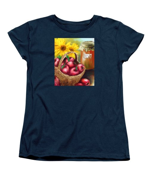 Women's T-Shirt (Standard Cut) featuring the digital art Apple Harvest by Mary Almond