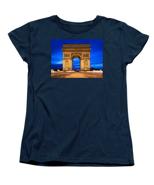 Arc De Triomphe At Night Paris France  Women's T-Shirt (Standard Cut) by Michal Bednarek