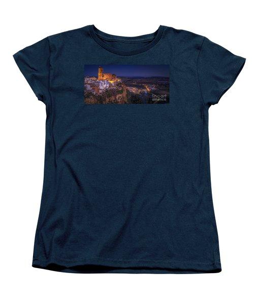 Arcos De La Frontera Panorama From Balcon De La Pena Cadiz Spain Women's T-Shirt (Standard Cut) by Pablo Avanzini