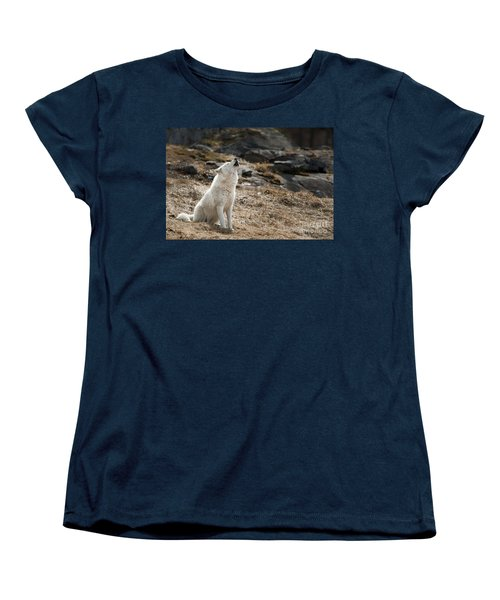 Women's T-Shirt (Standard Cut) featuring the photograph Arctic Wolf Howling by Wolves Only