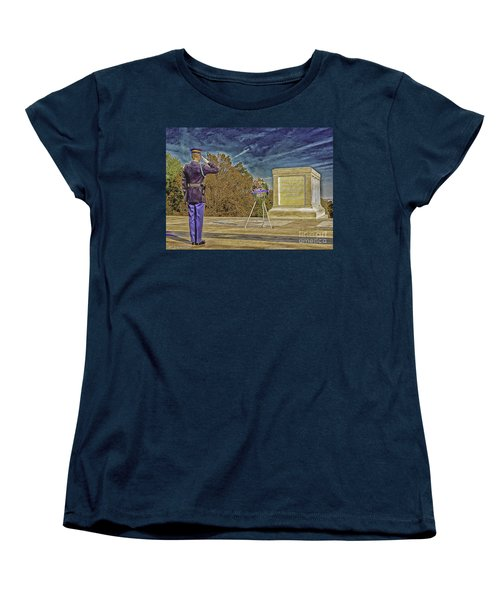 Arlington Cemetery Tomb Of The Unknowns Women's T-Shirt (Standard Cut) by Bob and Nadine Johnston