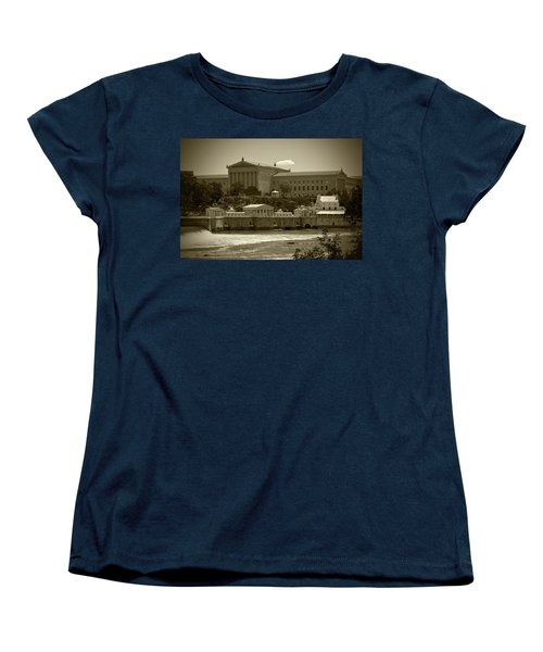Art Museum And Fairmount Waterworks - Bw Women's T-Shirt (Standard Cut) by Lou Ford
