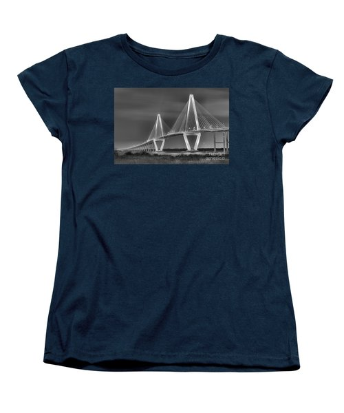 Arthur Ravenel Jr. Bridge In Black And White Women's T-Shirt (Standard Cut) by Adam Jewell