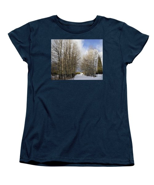 Aspen Trees Along Snowy Colorado Path Women's T-Shirt (Standard Cut)