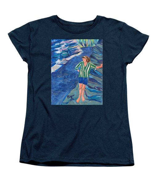 Women's T-Shirt (Standard Cut) featuring the painting At Wintergreen Park Canajoharie 1957 by Betty Pieper