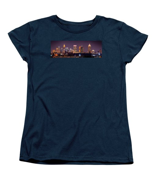 Atlanta Skyline At Night Downtown Midtown Color Panorama Women's T-Shirt (Standard Cut) by Jon Holiday