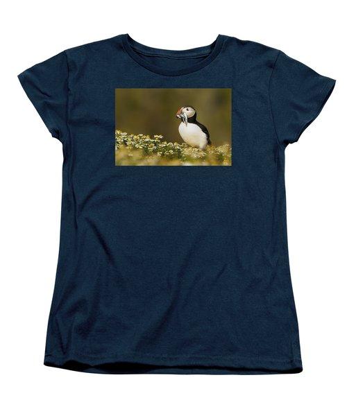 Atlantic Puffin Carrying Fish Skomer Women's T-Shirt (Standard Cut) by Sebastian Kennerknecht