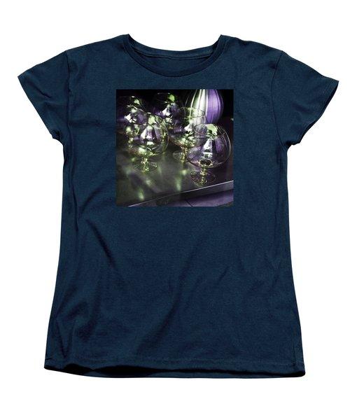 Aubergine Paris Wine Glasses Women's T-Shirt (Standard Cut) by Evie Carrier