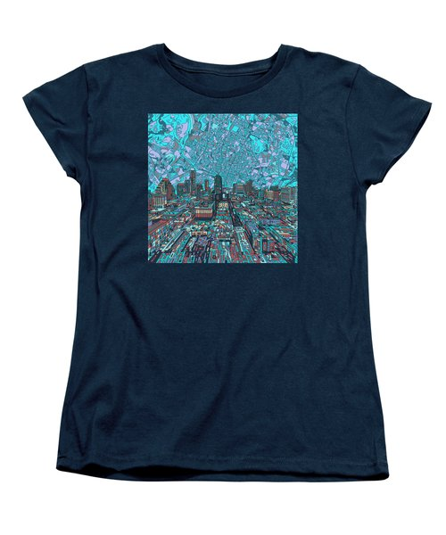 Austin Texas Vintage Panorama 4 Women's T-Shirt (Standard Cut) by Bekim Art