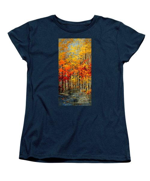 Women's T-Shirt (Standard Cut) featuring the painting Autumn Banners by Tatiana Iliina