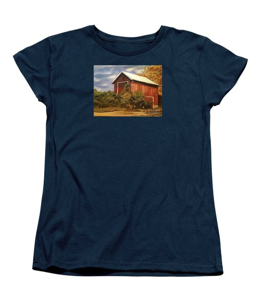 Women's T-Shirt (Standard Cut) featuring the painting Autumn - Barn - Ohio by Jan Dappen
