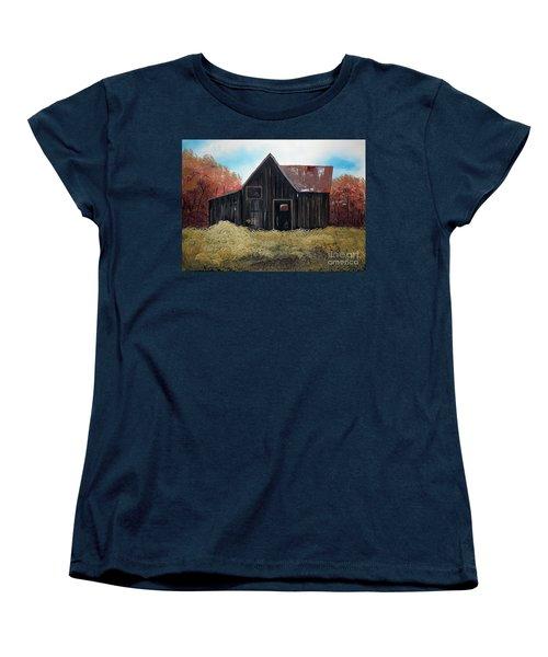 Women's T-Shirt (Standard Cut) featuring the painting Autumn - Barn -orange by Jan Dappen