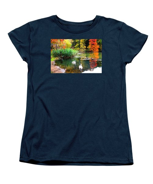 Autumn By The Swan Lake Women's T-Shirt (Standard Cut) by Dora Sofia Caputo Photographic Art and Design