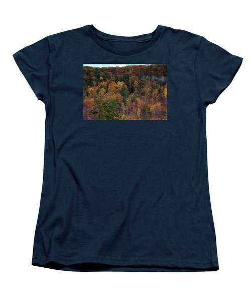 Women's T-Shirt (Standard Cut) featuring the photograph Autumn Colors In Taughannock State Park Ithaca New York by Paul Ge