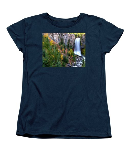 Women's T-Shirt (Standard Cut) featuring the photograph Autumn Colors Surround Tumalo Falls by Kevin Desrosiers